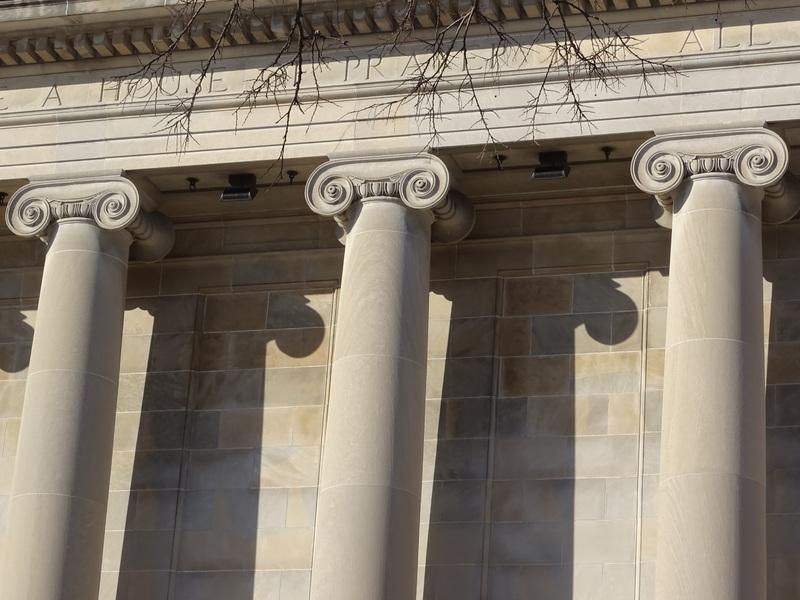 Temple Israel Synagogue, closeup of column capitals