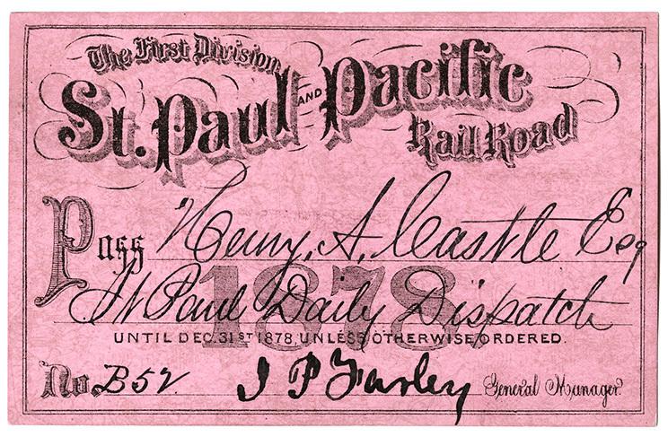St. Paul & Pacific Railroad pass