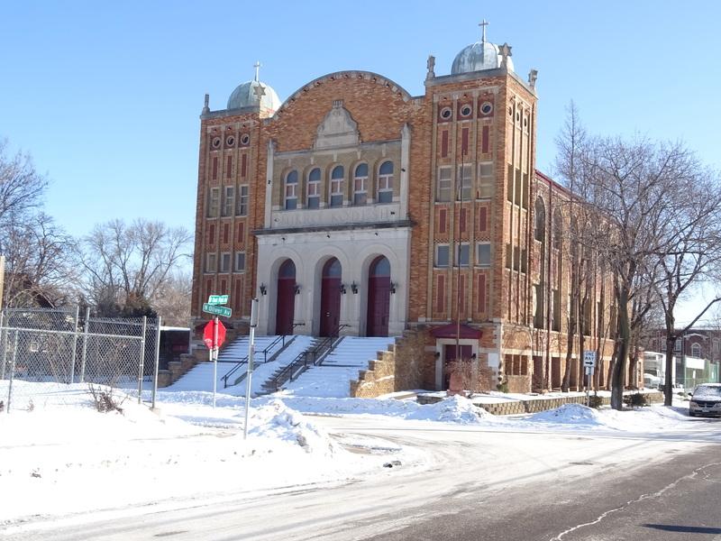 Disciples Ministry Church (originally Mikro Kodesh Synagogue) -- front 3/4 view