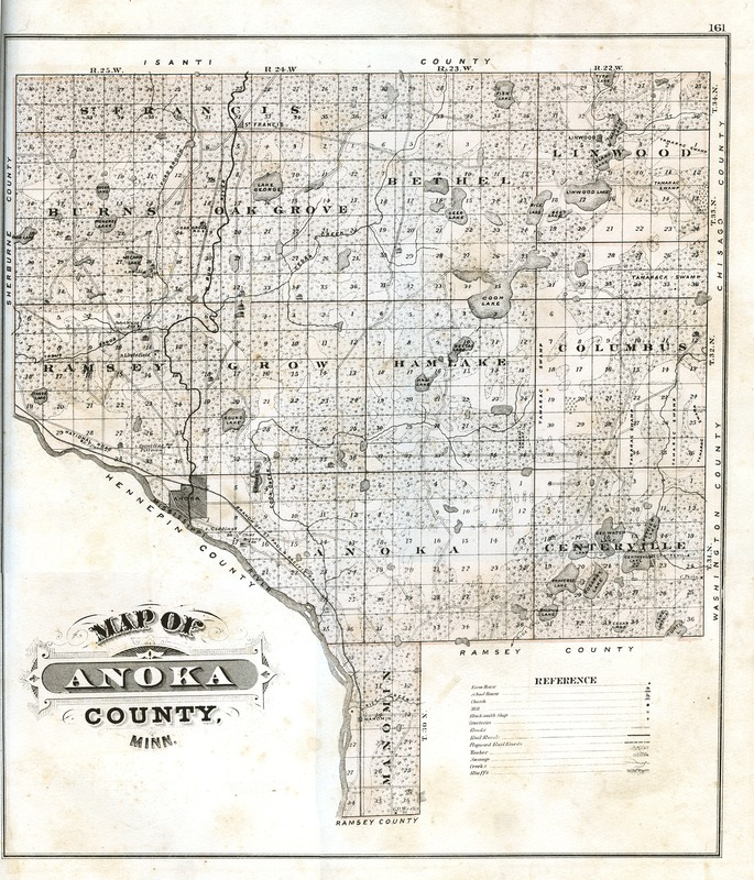 1874 map of Anoka County