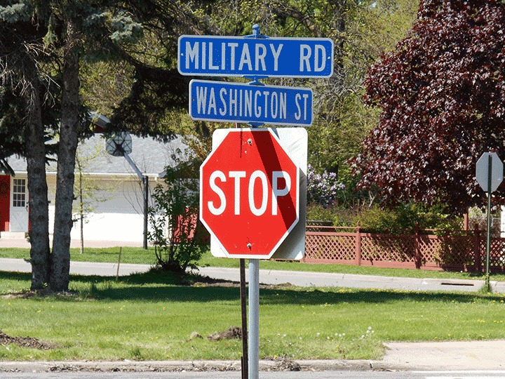 Military Road sign