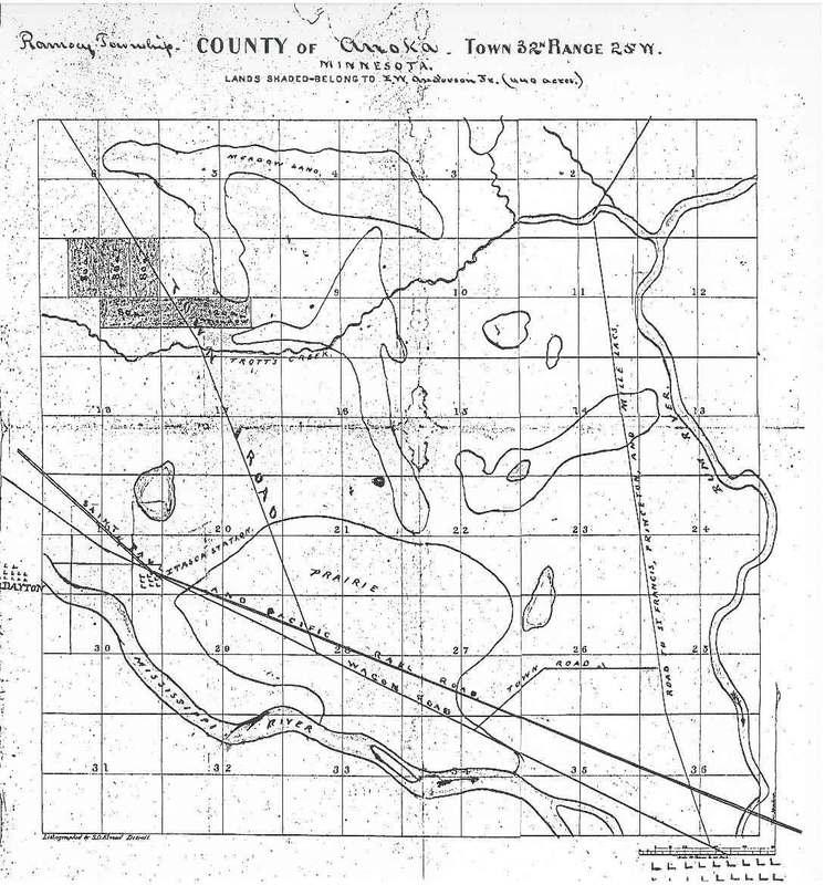 Map of northwest Anoka, 1850s